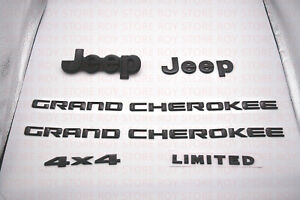 6pcs 2014 2018 Jeep Grand Cherokee Gloss Black Replacement Nameplate Emblem 4x4