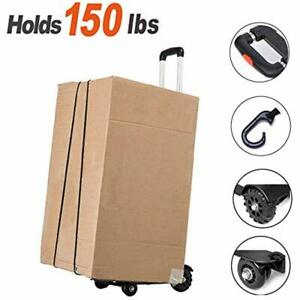 Hand Truck Folding Aluminum Cart Moving Dolly With 4 Wheels For Luggage Boxes