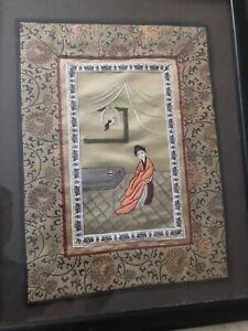Vintage Chinese Embroidery Silk Tapestry Woman With Bird With Frame
