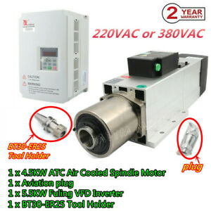 4 5kw Bt30 Atc Cnc Air Spindle Motor Automatic Tool Change 220v 5 5kw Inverter