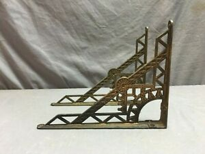 Pair Antique Cast Iron Eastlake Shelf Corbels Brackets Supports Vtg 80 19j