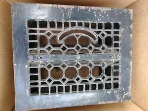 Antique Metal Floor Grate With Vents And Springs And Sheet Metal 10 By 12