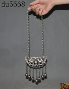 15 Old China Fengshui Tibetan Silver Lion Foo Dog Small Bell Lock Pendant Amulet