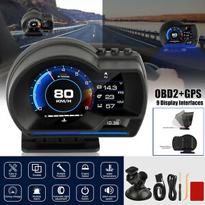 Hud Obd2 Gps Gauge Head Up Car Digital Display Speedometer Rpm Alarm Temp