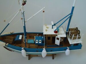 Large Blue Trawler Wooden Model Fishing Boat With Nets On Stand Maritime Ship