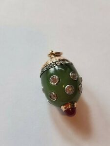Faberge Russian Jade Gold Diamonds And Ruby Egg Pendant