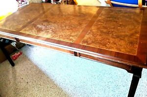 Alma Desk Company Large Triple Burl Top Triptych For Writing Vintage Mid century