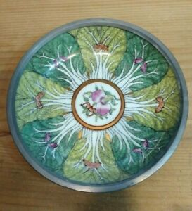 Vintage Chinese Porcelain And Pewter Bowl Cabbage Leaves Moths Peaches