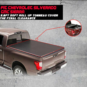 Fit 07 17 18 Chevy Silverado 1500 2500 3500 Gmc 5 8ft Soft Roll Up Tonneau Cover