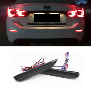 Smoked Lens Led Rear Bumper Fog Lights Sequential Signal For Infiniti Q50 Nissan