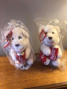 New! 1993 Coca Cola 9 Inch Girl & Boy Bear Plush by Play by Play - Free Shipping