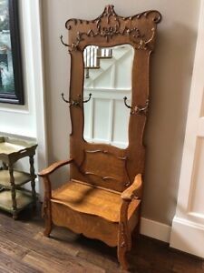 Antique Hall Seat Coat Tree Stand With Beveled Mirror Storage Bench Oak Rare