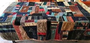 Crazy Quilt 78 X 74 Embellished Embroidery Wool Cotton Velvet Featherstitch