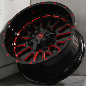 20x10 Black Milled Red Wheels Ameican Off Road A105 6x4 5 6x114 3 24 Set Of 4