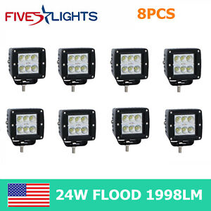 8x 24w Led Work Light Flood Cuve Pods Offroad Fits Truck 3inch Ute Lamp Square