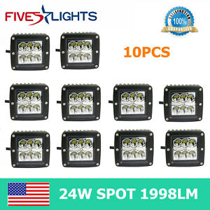 10x 3inch 24w Square Led Work Light 3x3 Trailer Atv Offroad Flood Driving Lamp