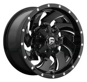 22x12 Black Milled Wheels Fuel Cleaver D574 5x4 5 5x5 5x127 44 Set Of 4