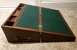 Antique 1800 S Victorian Writing Travel Folding Lap Desk Chest With Side Drawer