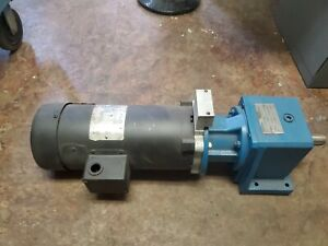 Leeson Dc Motor 108022 00 1 Hp 1750 Rpm 90vdc 56c Frame Stober Gearbox 1to17 7