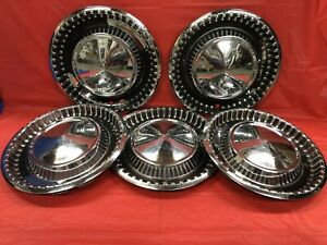 Vintage Set Of 5 1960 Dodge 15 Hubcaps Polara Seneca Mopar