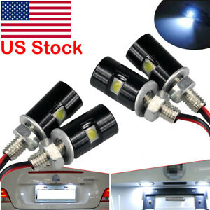 4pcs Universal White Motorcycle Screw Led Bolt Lamp Car License Plate Light Us