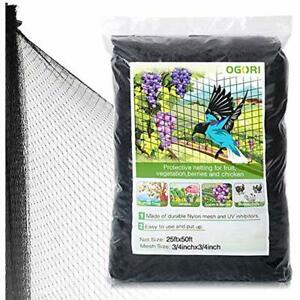 25 X 50 Ft Bird Netting Poultry Protect Plants And Fruit Trees Garden 3 4