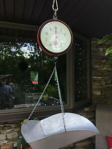 Vintage Chatillon 20lbs Hanging Scale W Scoop Pan Type 720