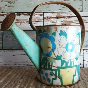 Shabby Rusty Ohio Art Tin Watering Can Green Farmhouse French Country Primitives