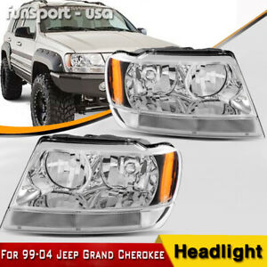 For 1999 2004 Jeep Grand Cherokee Headlights Lamps Assembly W Corner Reflector