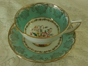 Royal Stafford Bone China Made In England Green Rimmed Floral Cup And Saucer