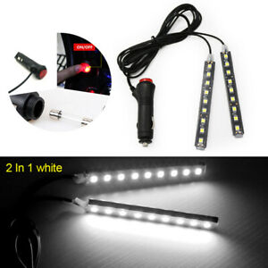 2x 9 Led Car Interior Atmosphere White Light Charge Floor Decor Lamp Accessories