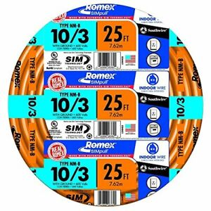 Southwire 63948421 25 10 3 W Ground Romex Brand Simpull Indoor Electrical Wire