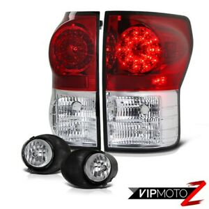 For 07 13 Toyota Tundra Red Clear Led Tail Light Crystal Front Bumper Fog Light