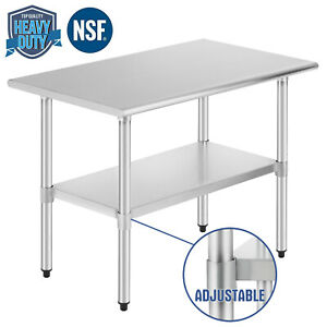 Commercial Prep Work Table Kitchen W adjustable Shelf Stainless Steel Nsf24 x36