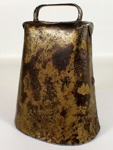 Superb 1800s Antique Hand Made Crafted Metal Cow Bell Primitive Farm Nice Patina