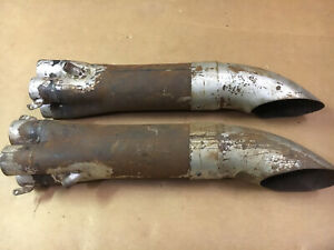 Header Collectors Slip On 2 Tube X 3 1 2 Exhaust With Turn Down Evac Pair Used