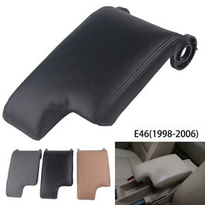 For Bmw E46 1999 2004 Black Leather Armrest Center Console Lid Cover Storage Box