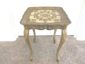 Vintage Gold Off White Italian Florentine Resin Tole Serving Or End Table