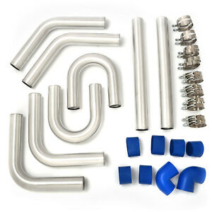 Universal Aluminum 2 5 In Intercooler Pipes Kit With Blue Hose