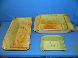 3 Vintage Nestier Storage Bins Industrial Steel Containers Stackable 2 Lg 1 Sm