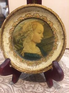 Vintage Gold Round Picture Antique Gold Florentine Italian Lady