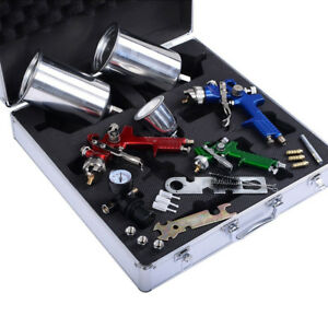 3pcs Hvlp Air Spray Gun Kit For Auto Paint Car Primer Detail Basecoat Clearcoat