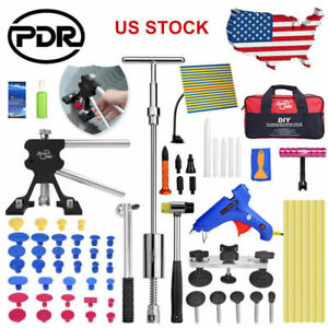 Paintless Dent Repair Pdr Tools Lifter Puller Slide Hammer Glue Gun Tap Down Kit