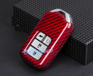 Red Real Carbon Fiber Car Remote Key Case Fob Shell Cover For Honda Accord 18 19