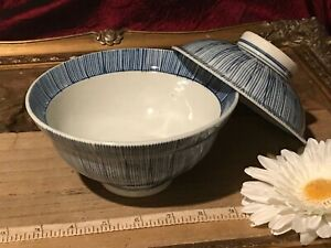 Asian Porcelain Blue White Striped Bowl Lid Marked