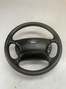 98 05 Ford Ranger Explorer Leather Steering Wheel Complete W Cruise Black Nice