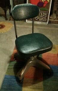Vintage Cosco Industrial Green Steel Swivel Office Chair Mid Century Marshall