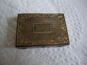 Antique Edwardian Era Small Sterling Silver Pill Box Engraved Floral Pattern