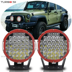 9inch 185w Red Round Led Work Light Spot Beam Driving Headlight Offroad Fit Jeep