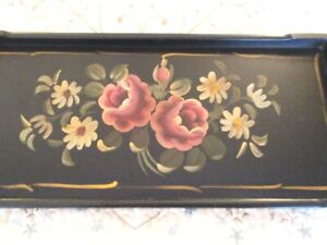 Vintage Near Mint Hand Painted Pink White Flowers Wood Dresser Perfume Tole Tray